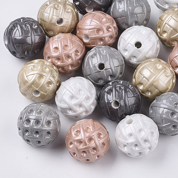 Spray Painted Opaque Acrylic Bead Rhinestone Settings, Round, Mixed Color, Fit for 2.5mm Rhinestone; 20x19.5mm, Hole: 3mm(MACR-T035-010)