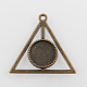 Flat Round with Triangle Alloy Pendant Cabochon Settings(X-PALLOY-N0088-55AB-NF)-1