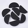 25mm Black Half Round Wood Beads(WOOD-N004-A-03)