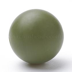 Экологические силиконовые бусины, жевательные бусины для чайников, DIY уход за ожерельем, круглые, темно-оливковый зеленый, 12 мм, отверстие : 2 мм(SIL-R008B-49)