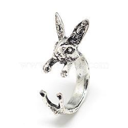 anneaux de manchette de lapin en alliage réglable, forme de lapin, taille 7, argent antique, 17 mm(RJEW-S038-069)