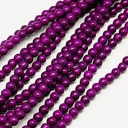 "1 brin teint pourpre roundsynthetic perles turquoise brins, 4mm, trou: 1mm; environ 110 pcs/chapelet, 15.6""(X-TURQ-G106-4mm-02O)"
