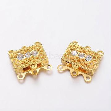 Golden Tone Brass Rhinestone Clasps, Filigree Box Clasps, about 18mm wide, 17mm long, 7mm thick, hole: 1.5mm(X-KK116-G)