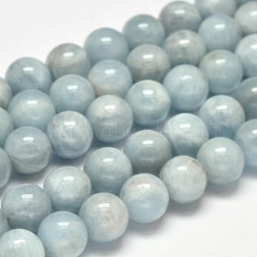 Round Grade AB Natural Aquamarine Bead Strands, 10mm, Hole: 1mm; about 40pcs/strand, 15.5inches(G-F289-01-10mm)