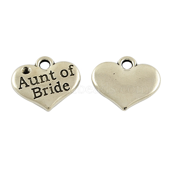 Tibetan Alloy Heart Carved Word Aunt of Bride Wedding Family Charms Rhinestone Settings, Lead Free & Cadmium Free & Nickel Free, Antique Silver, 14x16x2.5mm, Hole: 2mm; Fit for 1.5mm Rhinestone(X-TIBEP-GC204-AS-NR)