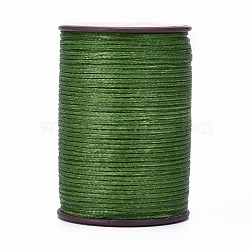 Flat Waxed Thread String, for Leather Sewing Stitching, Dark Olive Green, 0.8mm, about 109.36 yards(100m)/roll(X-YC-P003-A08)