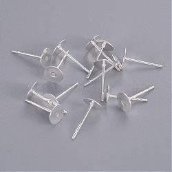 Supports de clou d'oreille, tête en laiton et tige en acier inoxydable, sans plomb et sans cadmium, argenterie, plateau: 6 mm; broche: 10 mm(X-KK-C2896-S-1)
