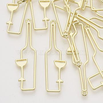 Rack Plating Alloy Open Back Bezel Big Pendants, For DIY UV Resin, Epoxy Resin, Pressed Flower Jewelry, Bottle, Light Gold, 55.5x15x2mm, Hole: 1.6mm(X-PALLOY-N150-34)