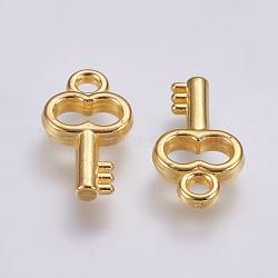 Пластмассовые подвески ccb, ключ, золотые, 17x9.5x2.5 мм, отверстие : 2 мм(CCB-G006-015G)