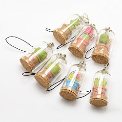 Glass Wishing Bottle Pendant Decoration, with Cork Stopper, Iron Findings, Nylon Cord and Resin, Mixed Color, 49x24mm(X-HJEW-F003-02)
