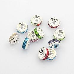 Perles séparateurs en laiton avec strass, grade AAA, bride droite, sans nickel, de couleur métal argent, rondelle, 8x3.8mm, Trou: 1.5mm(X-RB-A014-Z8mm-S-NF)