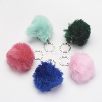 Keychain, with Iron Key Ring and Imitation Rabbit Hair, Platinum, Mixed Color, 115mm(X-KEYC-G037-C)