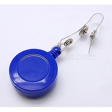 Plastic Retractable Badge Reel, Card Holders, with Iron Findings, Round, Blue, Size: about 32mm wide, 80mm long, 15mm thick(X-HJEW-H012-4)
