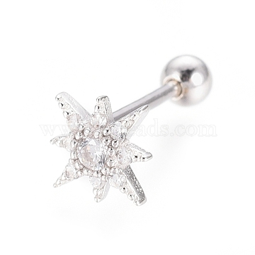 925 Sterling Silver Ear Fake Plugs, Ear Studs, with Micro Pave Clear Cubic Zirconia, Carved 925, Star, Platinum, 7.5x7.5x1.5mm, Pin: 0.8mm(STER-I018-11P)