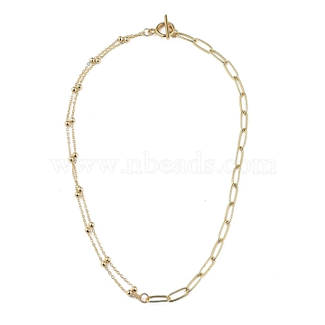 Brass Cable Chain Necklace, with Brass Round Beads and 304 Stainless Steel Toggle Clasps, Golden, 18.11 inches(46cm)(NJEW-JN03008)