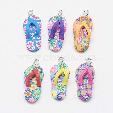 Handmade Polymer Clay Pendants, with Alloy Findings, Flip-Flops/Chancla, Mixed Color, 30~32x13x9mm, Hole: 2.5mm(X-PORC-S1007-48)