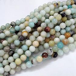 Chapelets de perles en amazonite naturelle, rond, 6mm, trou: 1mm; environ 61 pcs/chapelet, 15.5'' (39.5 cm)(G-G692-01-6mm)