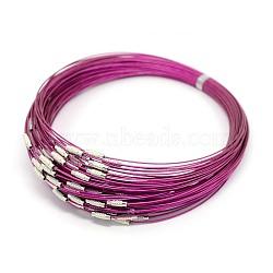 """Fil d'acier pour collier, agréable pour les bijoux DIY faisant, avec du laiton fermoir à vis, fuchsia, 17.5"""", 1 mm(X-TWIR-SW001-18)"""