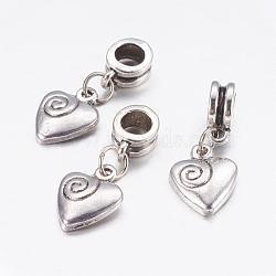 Perles européennes de pendentif en alliage , cœur, argent antique, 26mm, Trou: 5mm(X-PALLOY-JF00001-28)