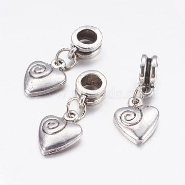 Alloy European Dangle Beads, Heart, Antique Silver, 26mm, Hole: 5mm(X-PALLOY-JF00001-28)