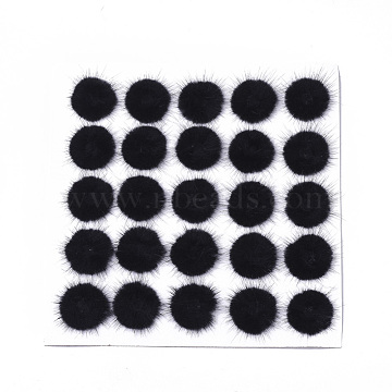 Faux Mink Fur Ball Decoration, Pom Pom Ball, For DIY Craft, Hollow, Black, 4~5cm; about 25pcs/board(FIND-S320-03A)