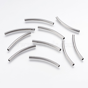 Brass Tube Beads, Curved, Platinum, 50x4mm, Hole: 3.5mm(KK-L157-05P)