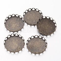 cuvettes rondes en laiton à bordures en dentelle, paramètres cabochon, matériel de bricolage pour les accessoires de cheveux, bronze antique, plateau: 20 mm; 21 mm(X-KK-E184-AB-NF)