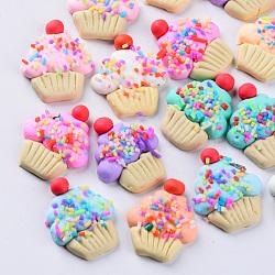 main en pate polymère cabochons, style alimentaire imitation, gateau, couleur mélangée, 29~31x23~25x6~7 mm(X-CLAY-N006-01)