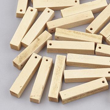 Wood Pendants, Cuboid, Wheat, 30x6x5.5mm, Hole: 1.5mm(X-WOOD-T008-06)