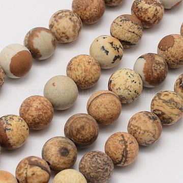 Natural Picture Jasper Beads Strands, Frosted, Round, 4mm, Hole: 0.8mm, about 90pcs/strand, 14.1 inches(G-D686-4mm)