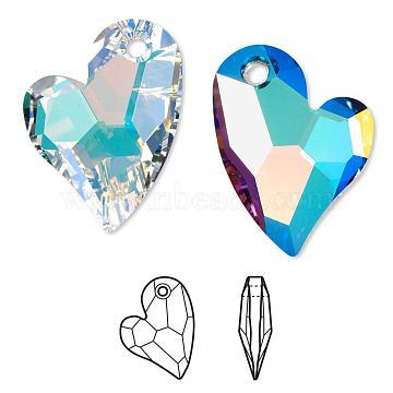 Austrian Crystal Rhinestone, 6261, Crystal Passions, Faceted Devoted 2 U Heart Pendant, 001AB_Crystal AB, 27x18x6mm, Hole: 2mm(6261-27mm-001AB(U))