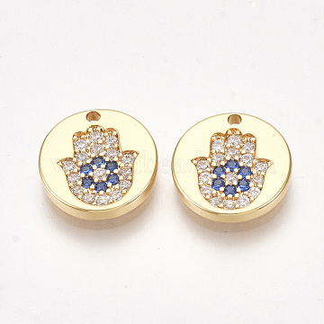 Real Gold Plated Colorful Flat Round Brass+Cubic Zirconia Charms