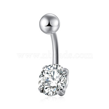 Piercing Jewelry, Brass Cubic Zirconia Navel Ring, Belly Rings, with Stainless Steel Findings, Lead Free & Cadmium Free, Flat Round, Platinum, Clear, 19x8mm; Pin: 1.5mm(AJEW-EE0006-26A)