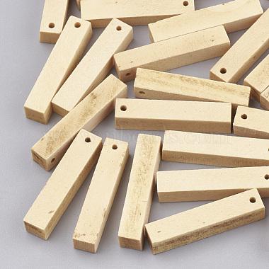 30mm Wheat Cuboid Wood Pendants