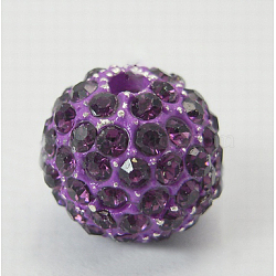 Alloy Rhinestones Beads, Grade A, Round, Blue Violet, Size: about 12.5mm in diameter, hole: 2mm(X-RB-B028-2A)
