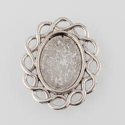 argent antique alliage filigrane de style tibétain plats ovales paramètres cabochon, plateau: 13x18 mm; 30x25x2 mm(X-TIBE-M021-13AS)