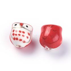 Perles de porcelaine imprimées manuelles, chouette, rouge, 16~17x14~15x13~14mm, Trou: 2mm(PORC-E015-09J)