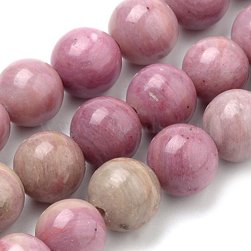 Natural Rhodonite Beads Strands, Round, 12mm, Hole: 1mm; about 32pcs/strand, 15.7 inches(G-S259-08-12mm)