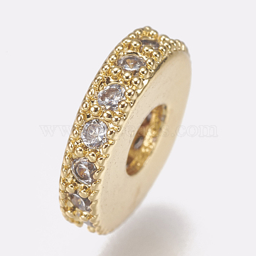 Brass Micro Pave Cubic Zirconia Bead Spacers, Flat Round, Clear, Golden, 8x2mm, Hole: 3mm(X-ZIRC-K074-11A-01G)