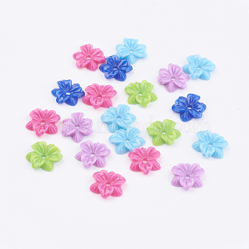 Opaque Resin Beads, Mother's Day Gift Beads, Flower, Mixed Color, 12x3mm(X-CRES-B504-M)