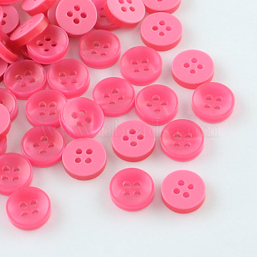 4-Hole Plastic Buttons, Flat Round, Hot Pink, 11x3mm, Hole: 1.5mm(X-BUTT-R037-02)