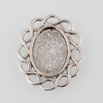 Antique Silver Tibetan Style Alloy Filigree Flat Oval Cabochon Settings, Cadmium Free & Lead Free, Tray: 13x18mm, 30x25x2mm(X-TIBE-M021-13AS)