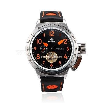 Stainless Steel Leather Wrist Watch, Mechanical Watches, Black & Orange, 265x20~24mm; Watch Head: 52x60x15mm(WACH-A002-11)