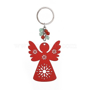 Dyed Poplar Wood Keychain, with Iron Keychain Findings, Natural Green Aventurine and Carnelian Beads, Angel, Red, 124mm(X-KEYC-JKC00205-04)