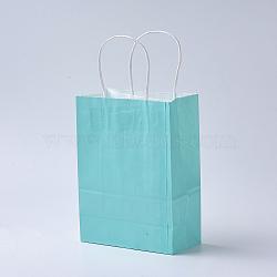 Sacs en papier kraft de couleur pure, sacs-cadeaux, sacs à provisions, avec poignées en corde de nylon, rectangle, cyan, 15x11x6 cm(AJEW-G020-A-14)