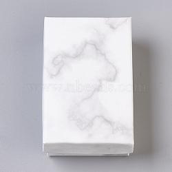 Paper Cardboard Jewelry Boxes, Rectangle, White, 8.1x5.1x2.7cm(CBOX-E012-04A)