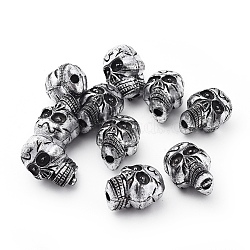Antique Silver Acrylic Beads, Halloween Skull, 23x17x15.5mm, Hole: 3.5mm(X-PLS111Y)