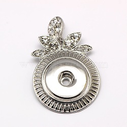 сплав цинка сплав кристалл горный хрусталь плоский круглый застежка кнопки подвеска, кадмия и никеля и свинца, платина, кристалл, 46x29x5 mm, отверстия: 2.5 mm(X-SNAP-O018-02-NR)