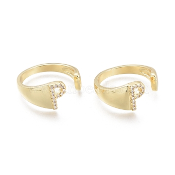 Brass Micro Pave Clear Cubic Zirconia Cuff Rings, Open Rings, Letter, Letter.P, US Size 6(16.5mm); P: 9.5x5.5mm(RJEW-F103-13P-G)