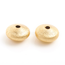 Matte Style Brass Textured Beads, Long-Lasting Plated, Rondelle, Real 14K Gold Plated, 9.5x5.5mm, Hole: 1.8mm(X-KK-L155-10B)